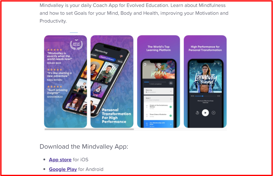 Mindvalley Mobile Application