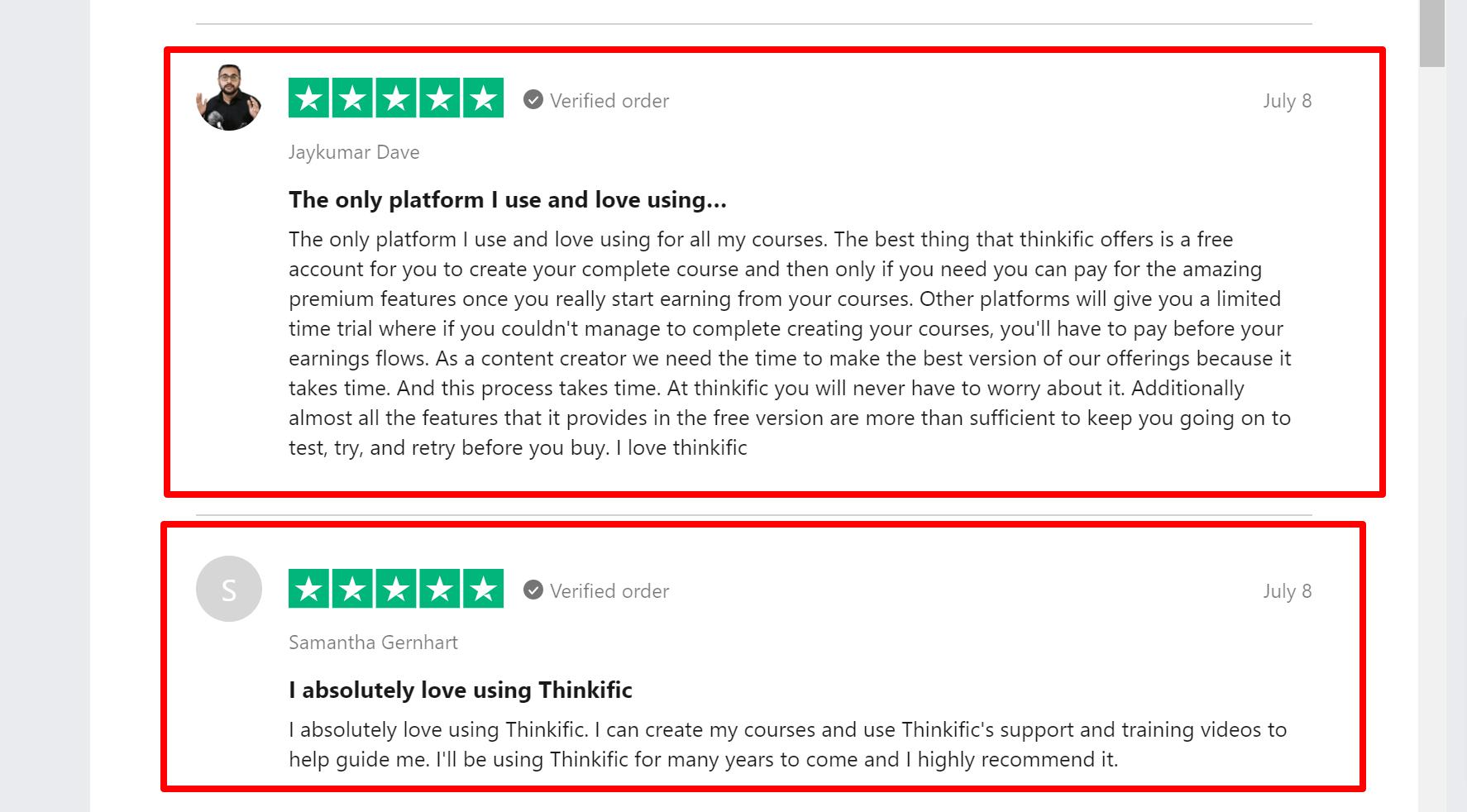 Thinkific Customer reviews Facebook