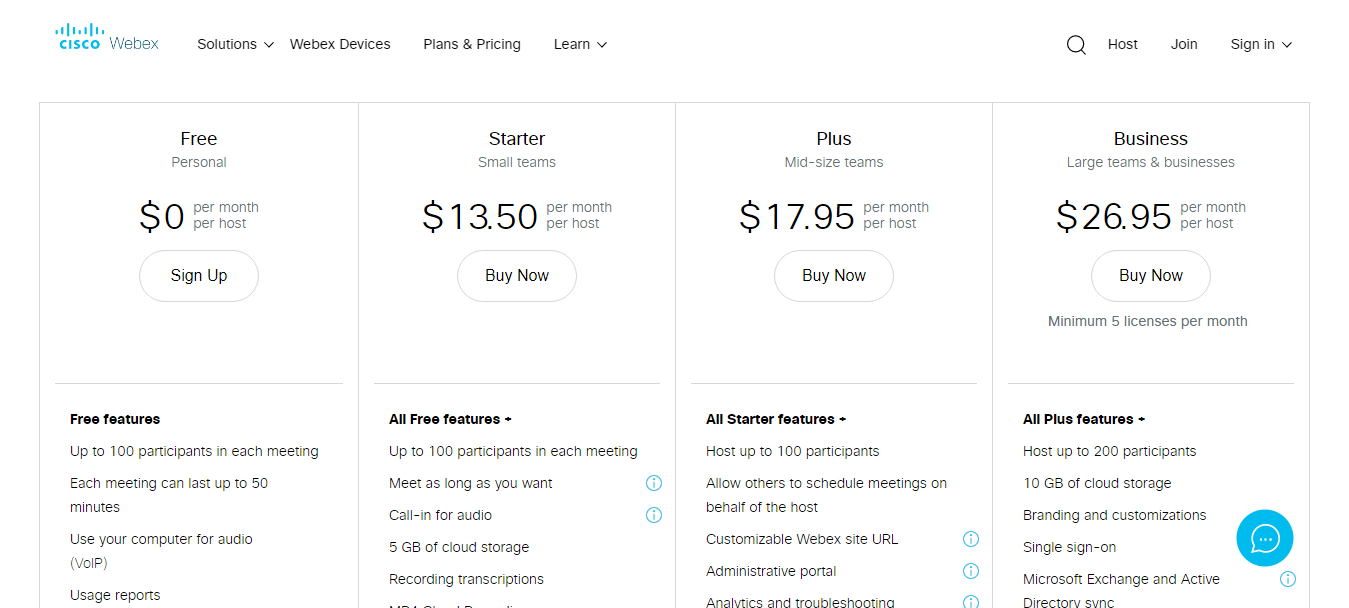 WebEx Pricing Plans