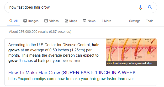 how fast does hair grow answer box