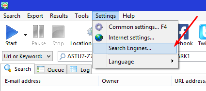 Search Engine setting