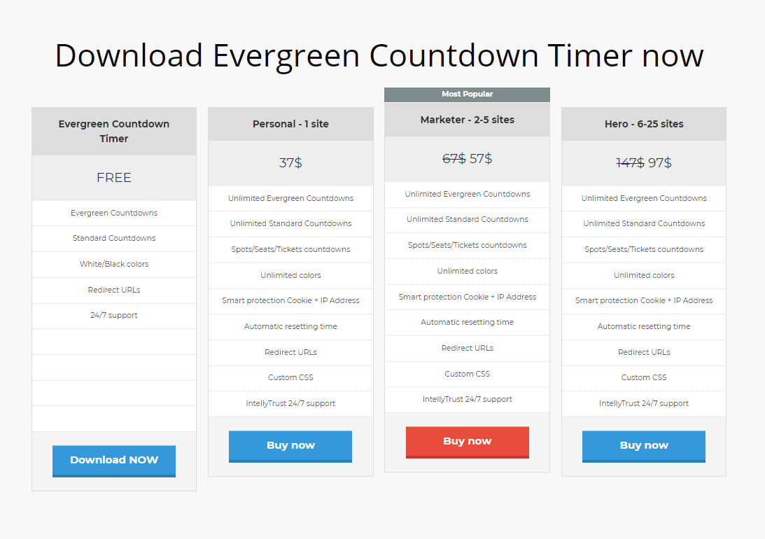 Evergreen Countdown Timer - Pricing