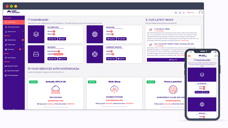 HostArmada dedicated server review - Dashboard