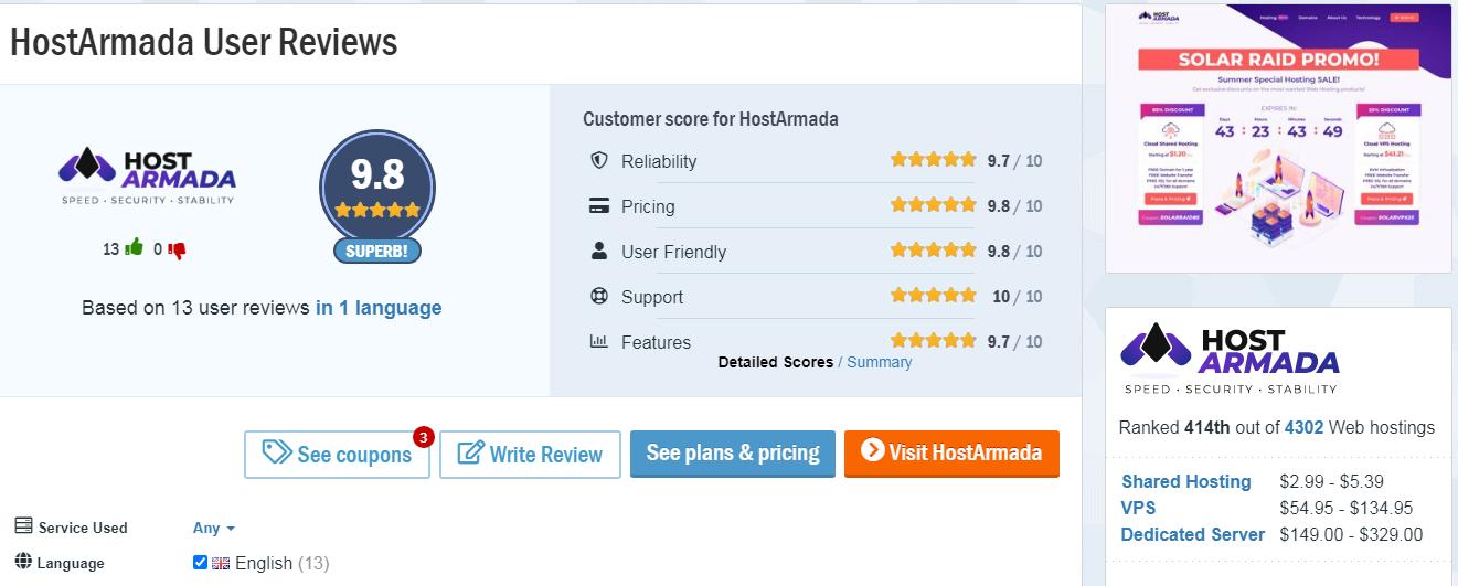 HostArmada Hosting customer reviews