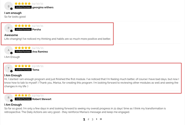 I am enough reviews