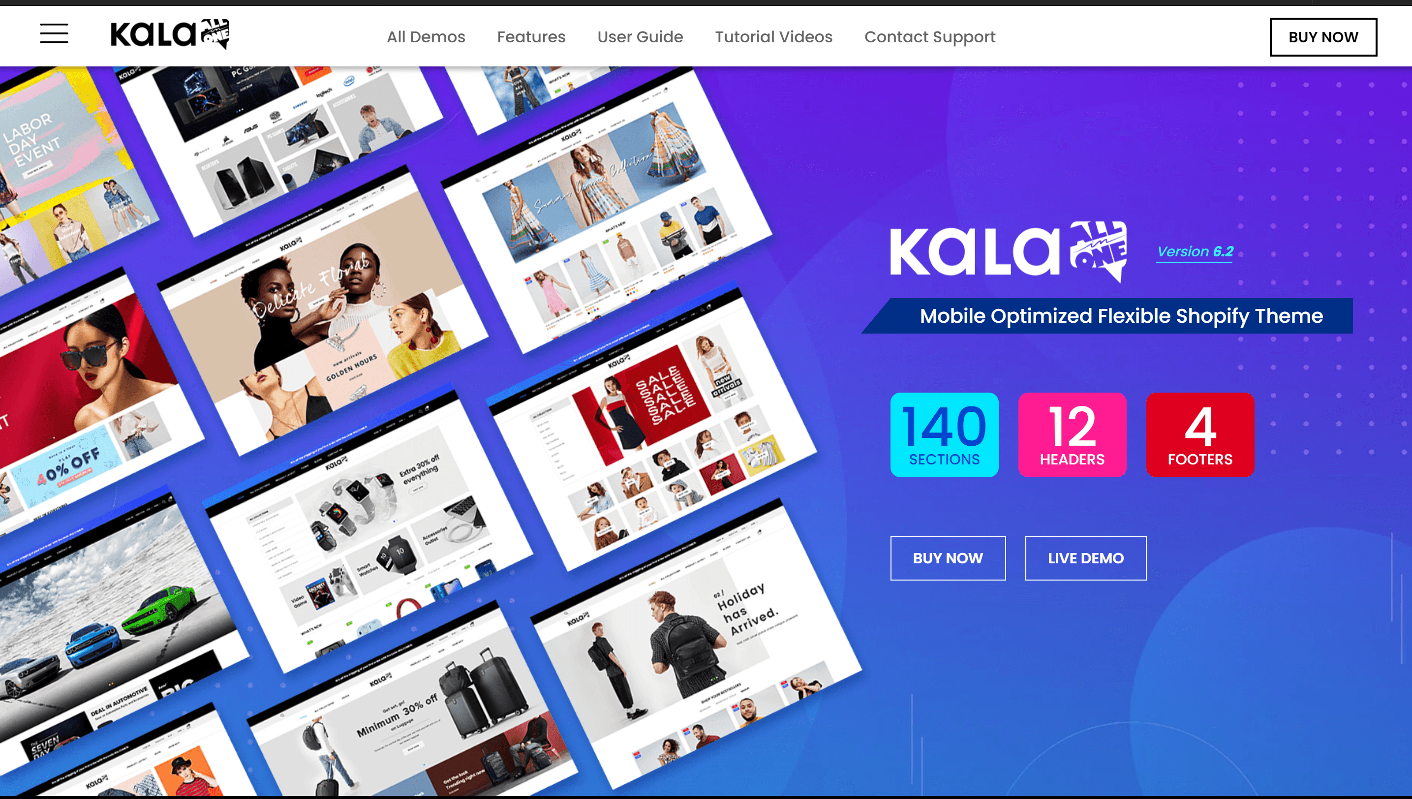 Kala Customizable Shopify Theme - Flexible Sections Builder Mobile Optimized Preview - ThemeForest