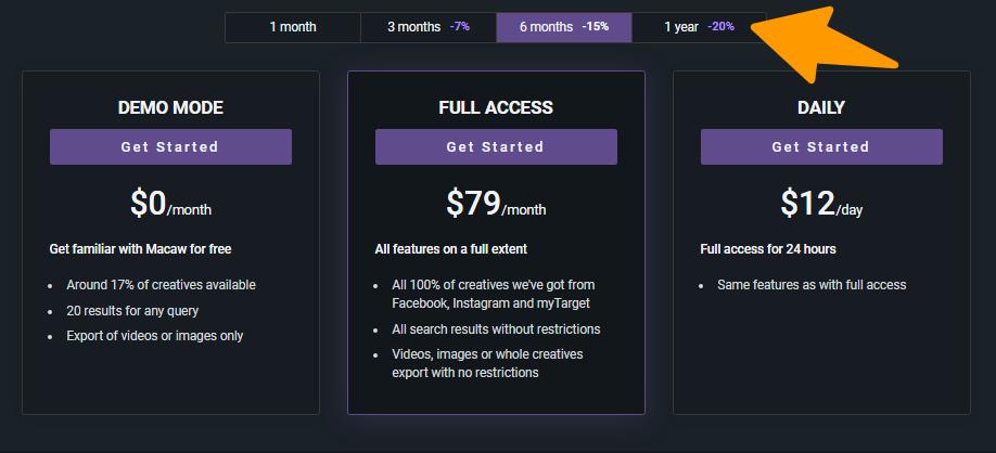Macaw- Pricing Plan