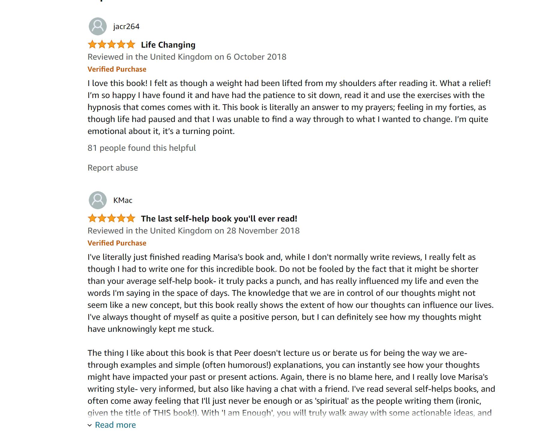 Marisa Peer Amazon Customer Reviews