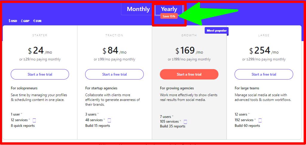 Sendible - Pricing Plan