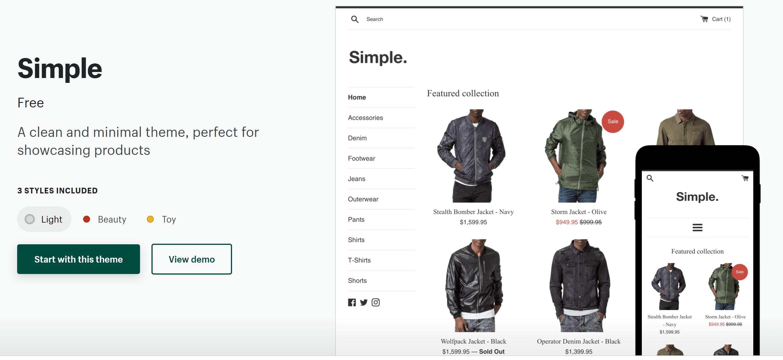 Simple shopify dropshipping theme