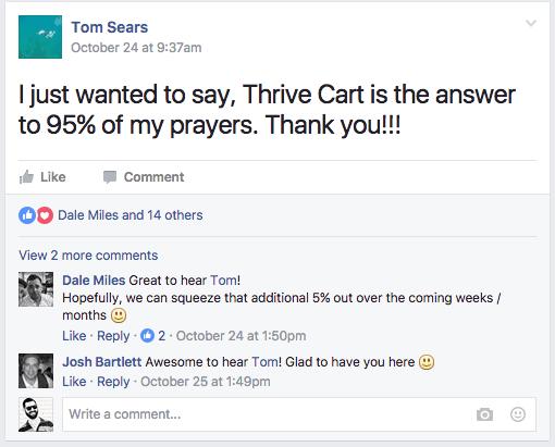 Thrivecart facebook testimonial