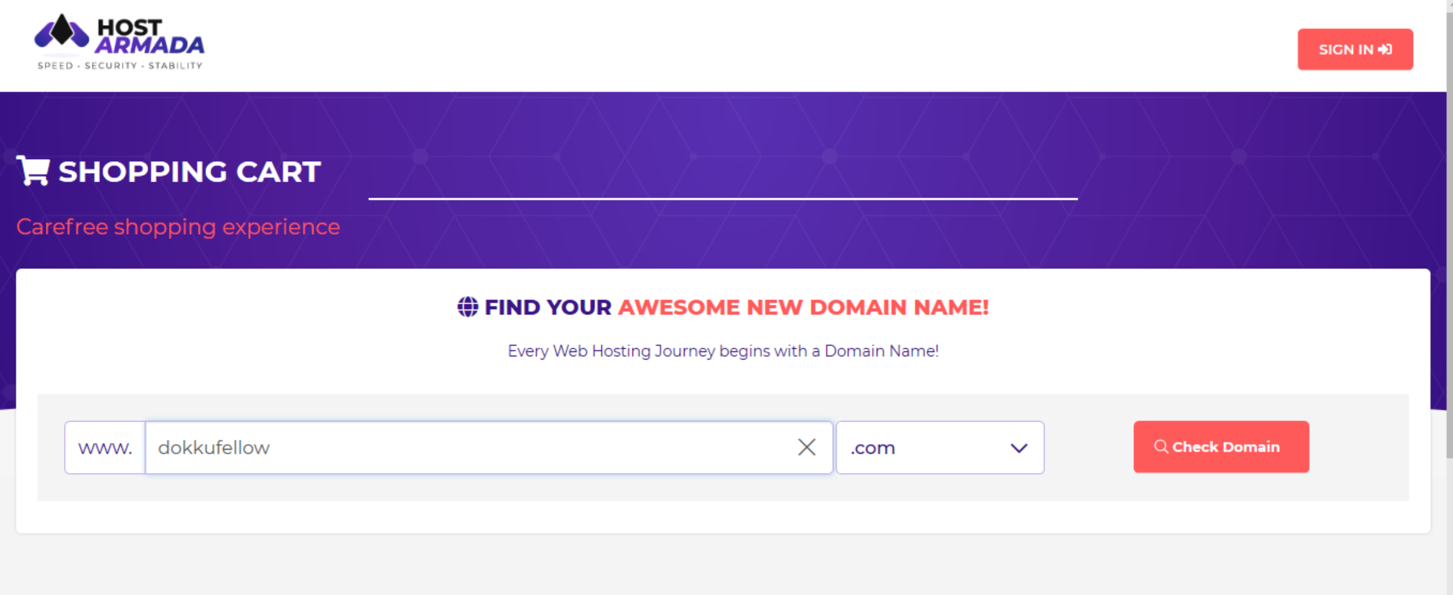finding new domain name with HostArmada