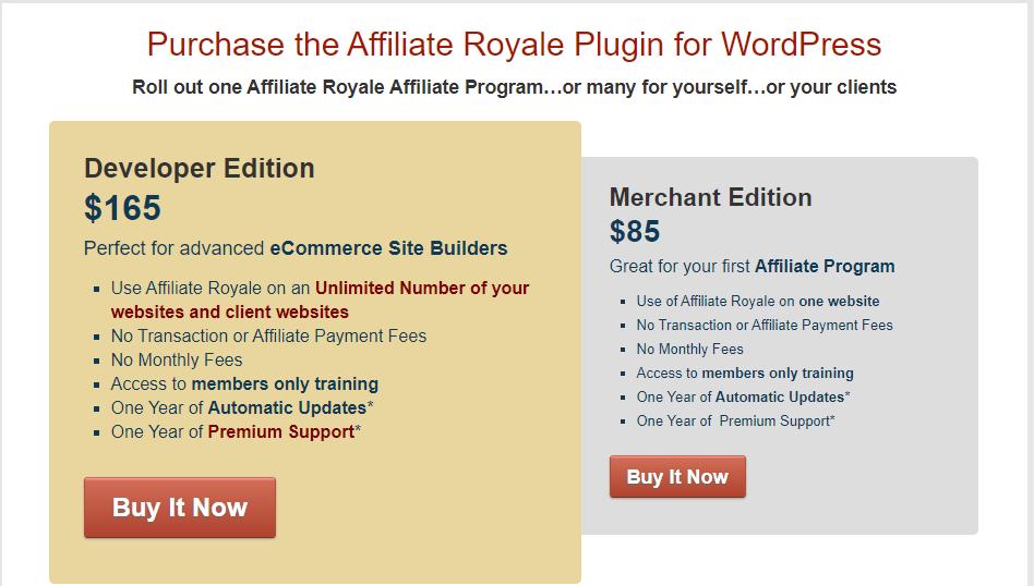 WP Affiliate Platform vs Affiliate Royale - Affiliate Royale Pricing