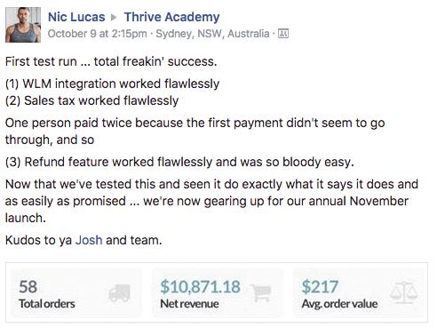 thrivecart vs woocommerce facebook testimonials