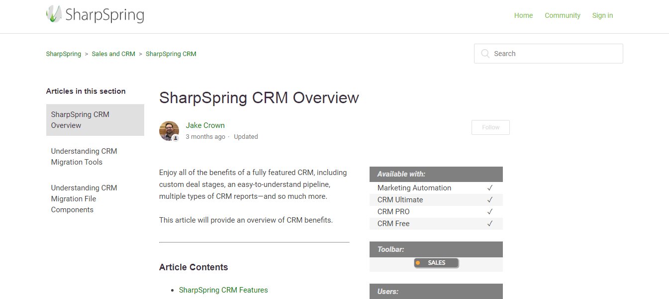 sharpspring CRM overview