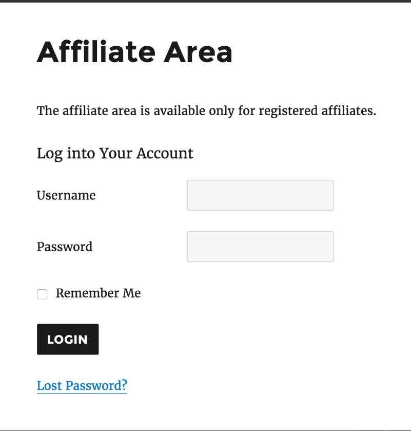 AffiliateWP - Affiliate Area