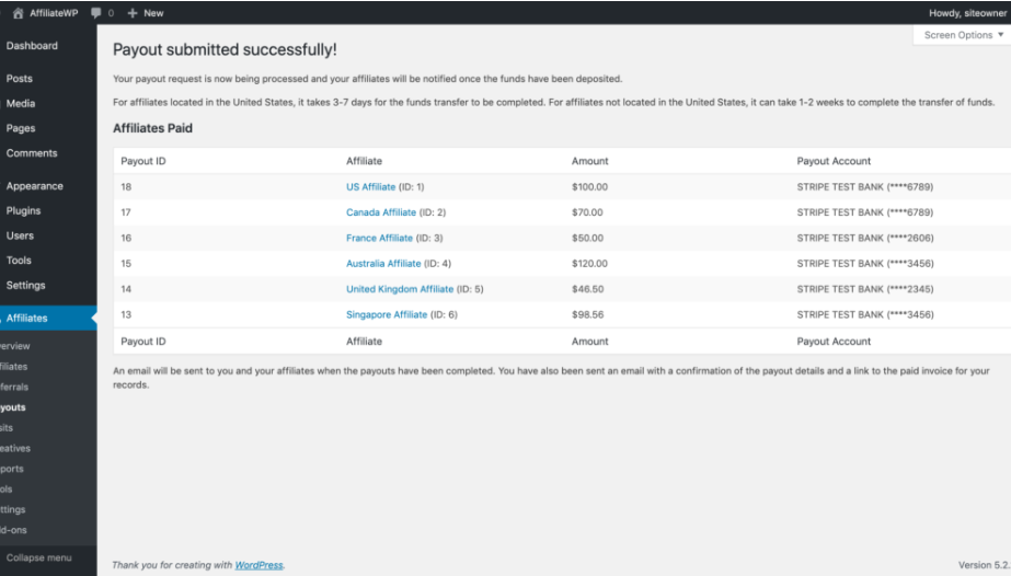 AffiliateWP- Payouts Service