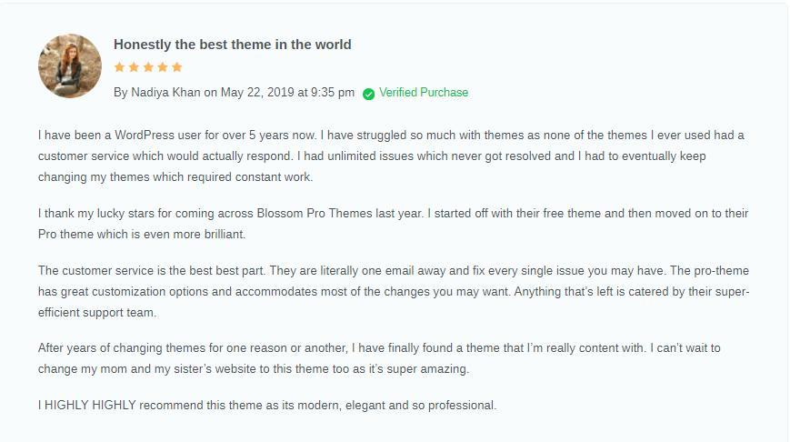 Blossom themes Testimonials & reviews