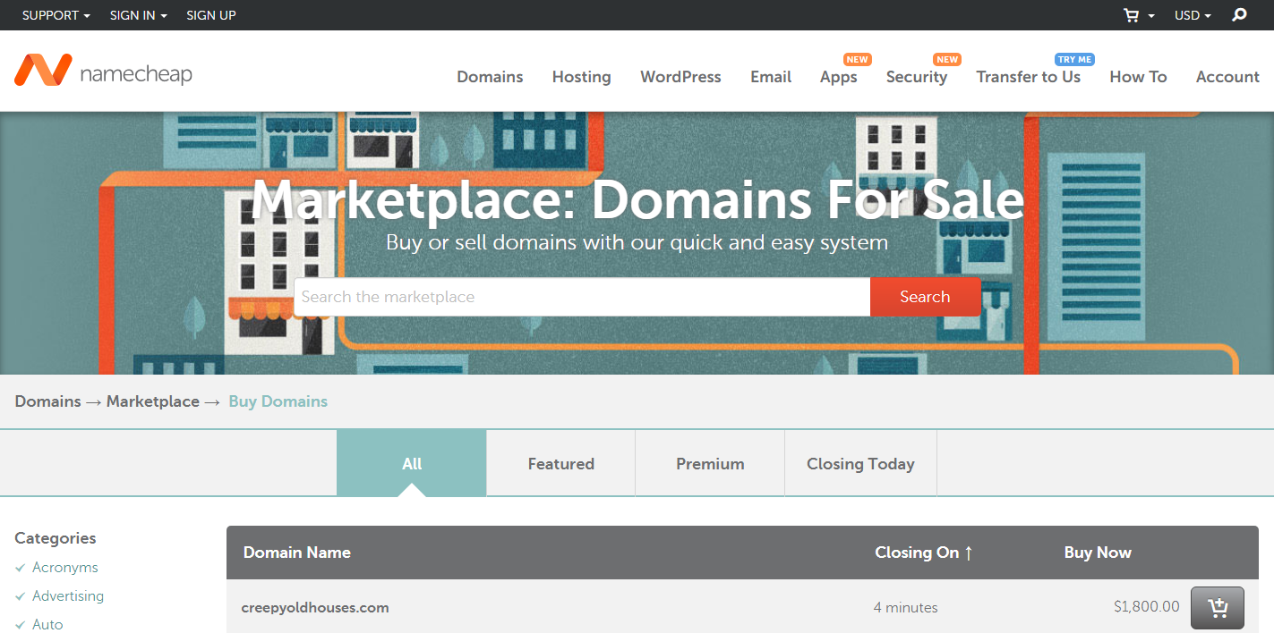 Buy Sell Domains Namecheap marketplace