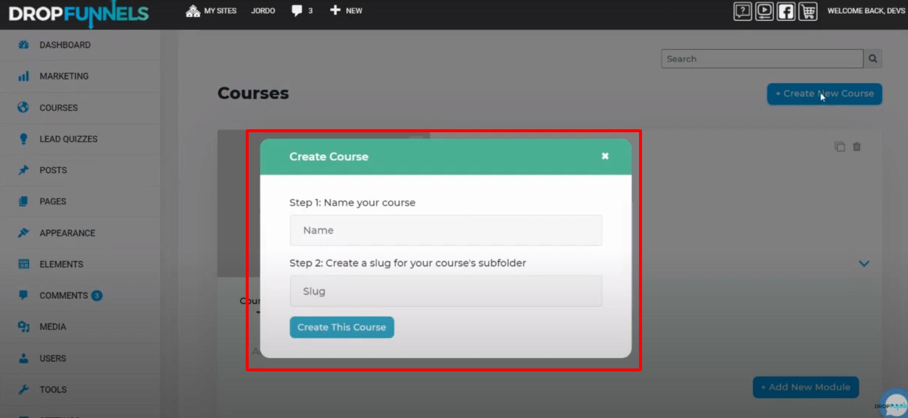 DropFunnels course creation