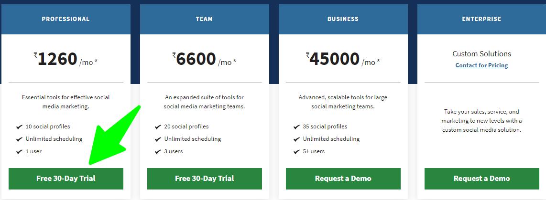 Hootsuite - Pricing Plan