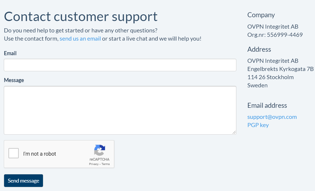OVPN-Customer Support
