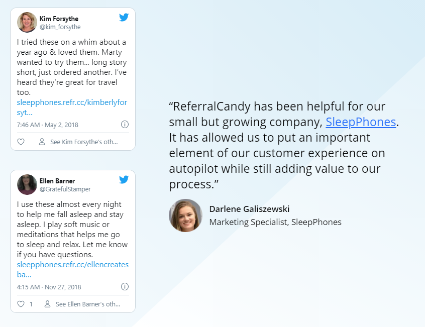 ReferralCandy- Testimonials