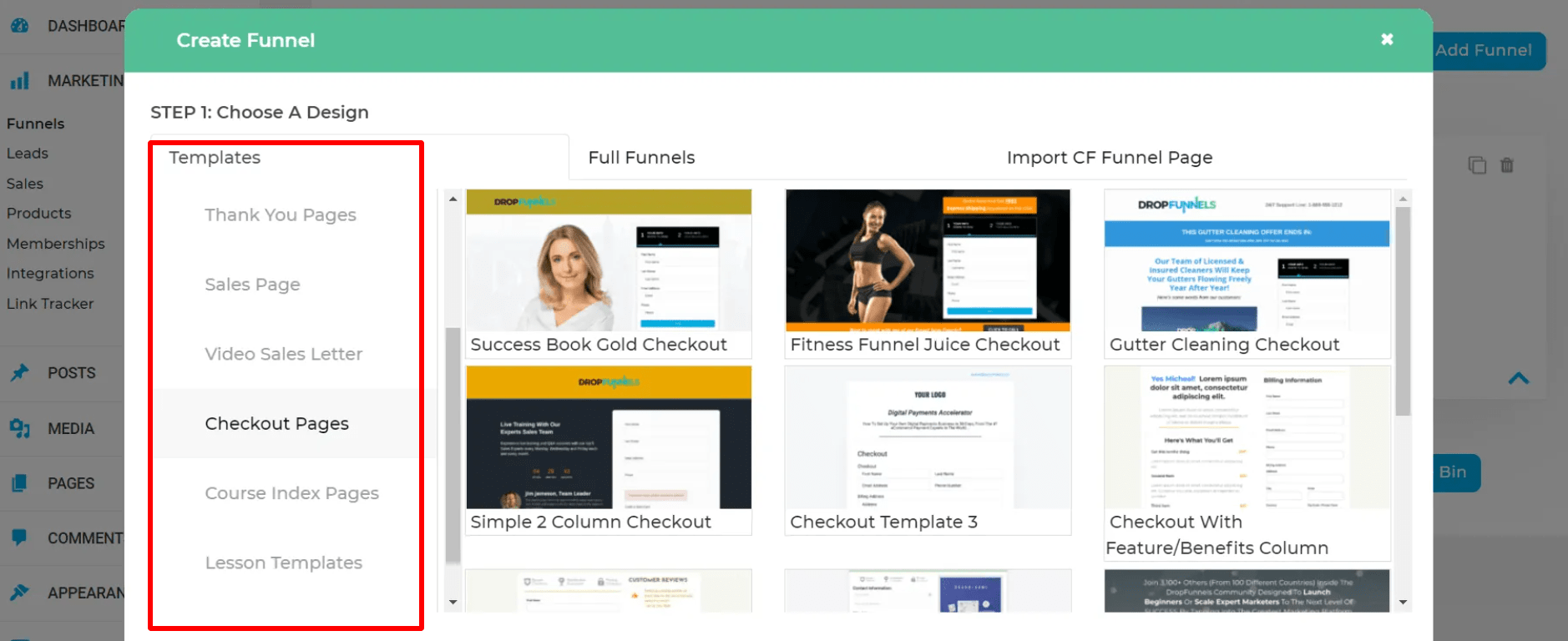 dropfunnels template pages