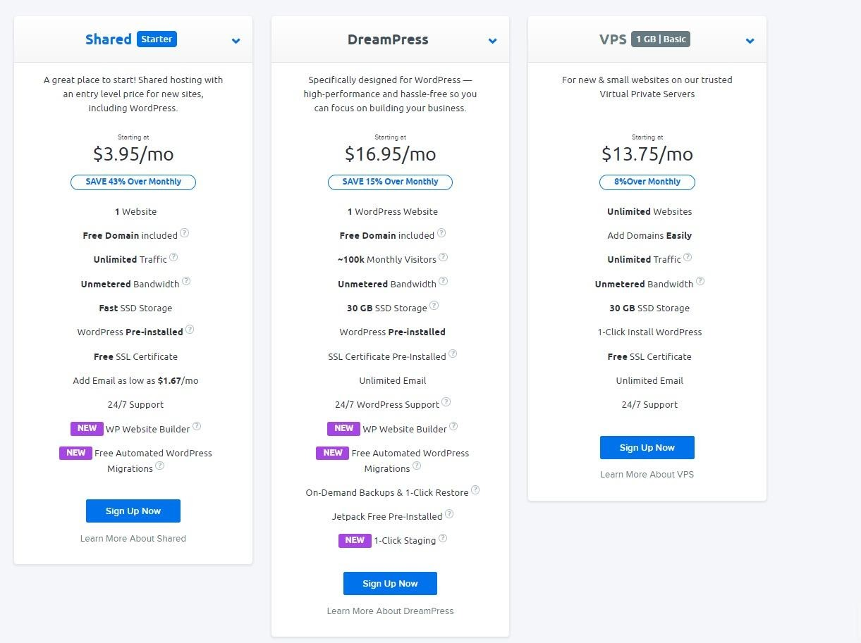 DreamHost - Pricing