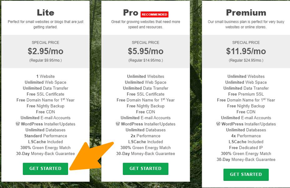 GreenGeeks - Pricing