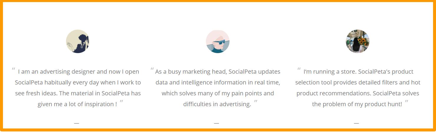 SocialPeta- Testimonials