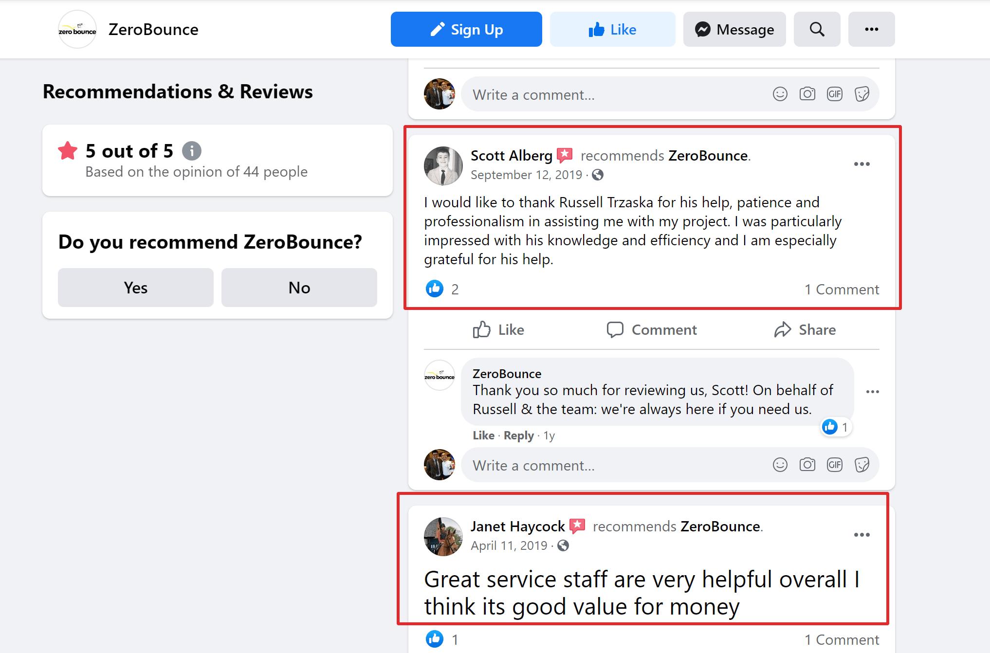 Zerobounce Customer feedback