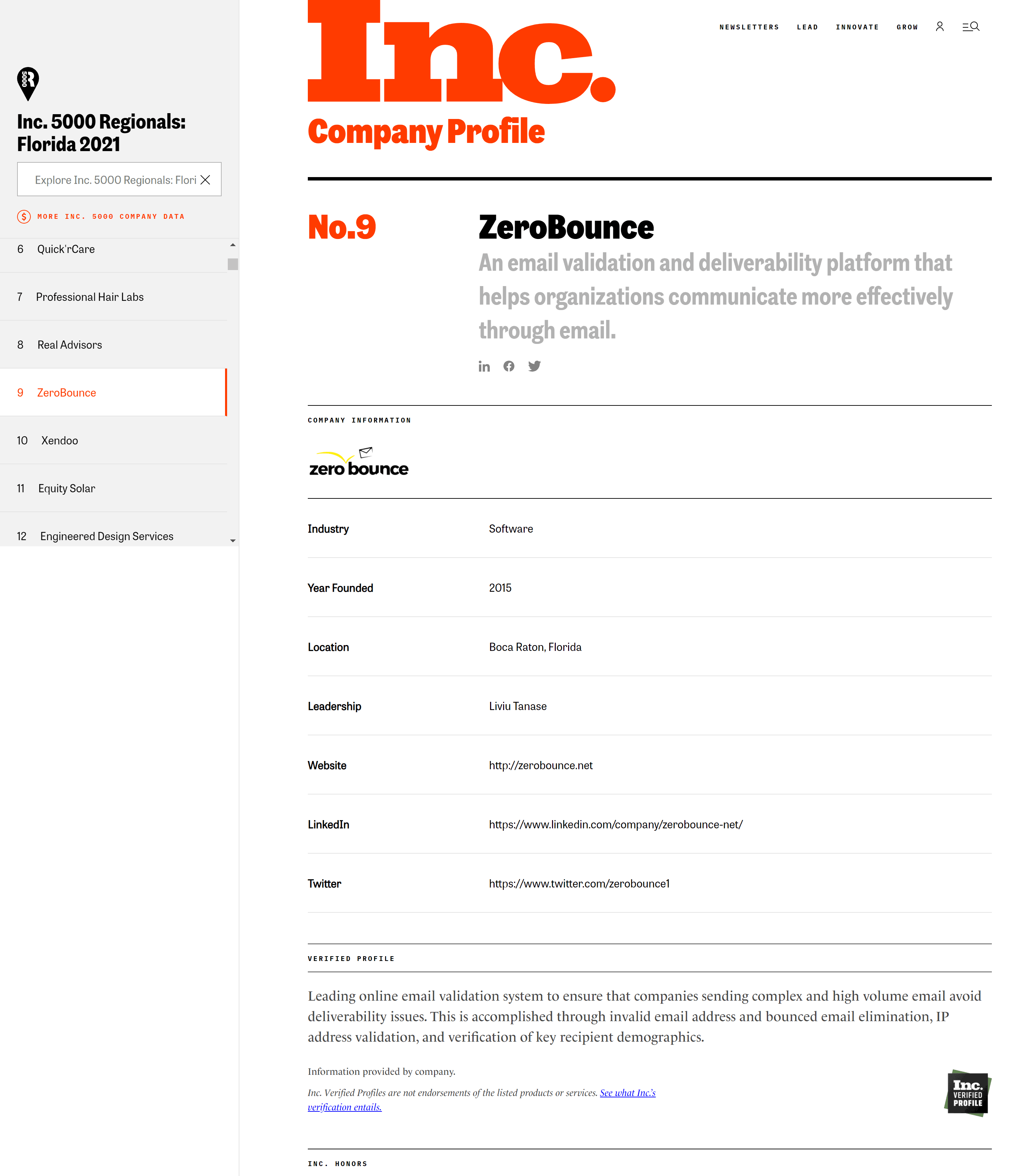 Zerobounce on Inc