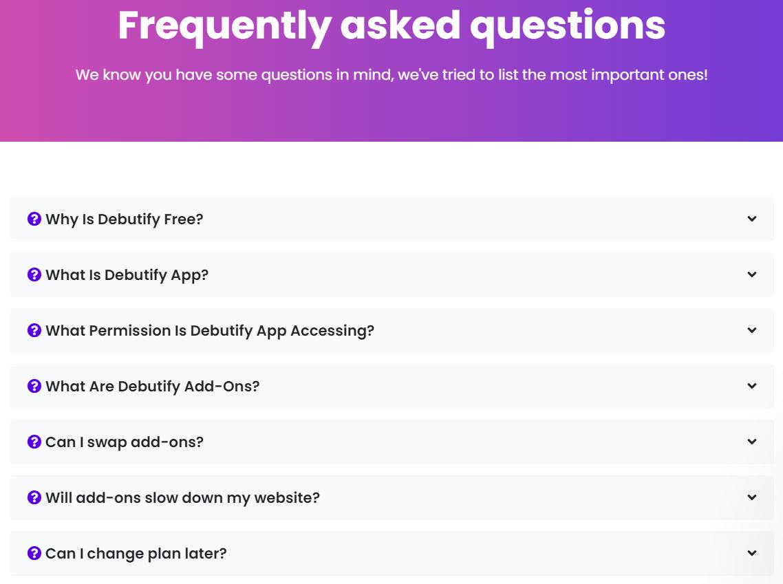 Debutify-FAQs