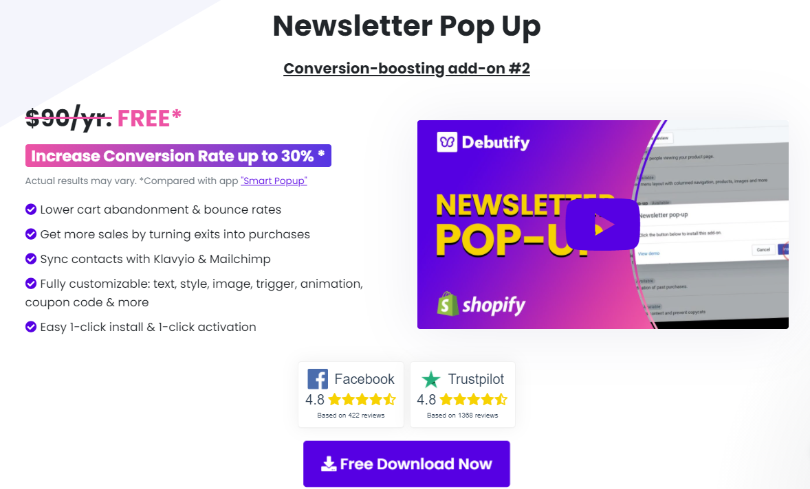 Debutify-Newsletter Popup