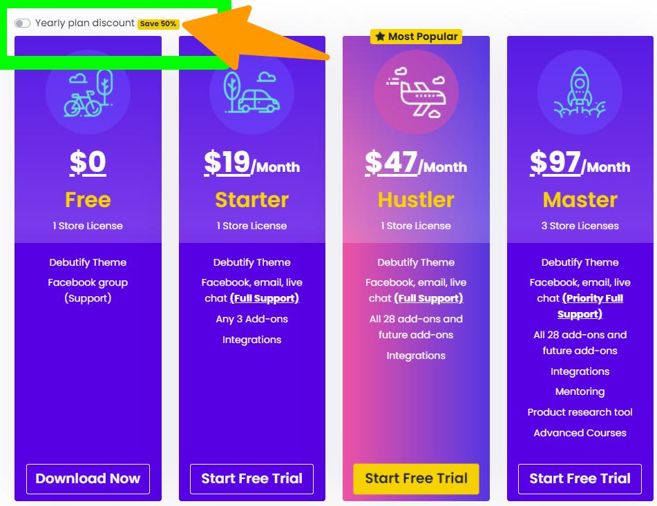Debutify - Shopify-Theme Pricing