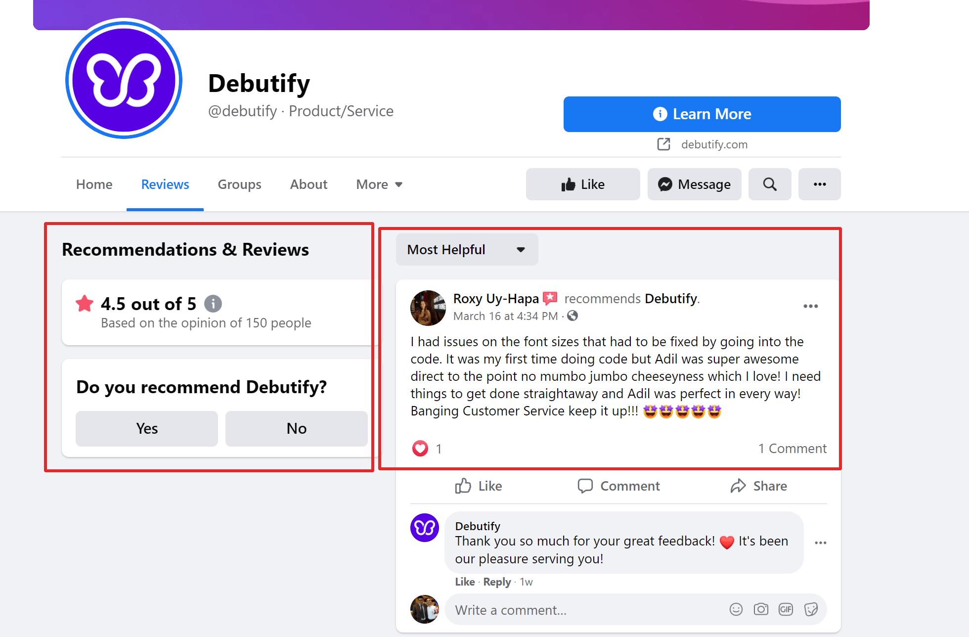 Debutify Theme Shopify Facebook page