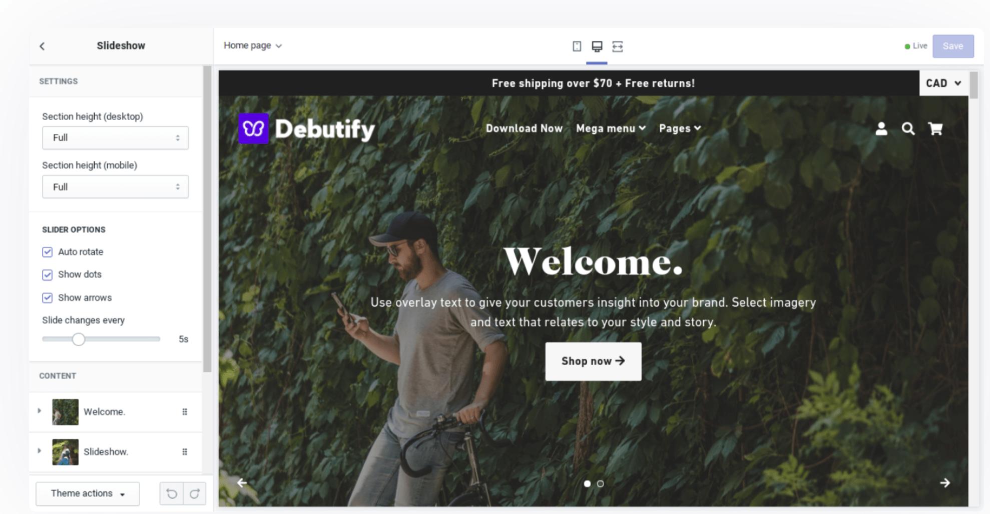 Debutify customize