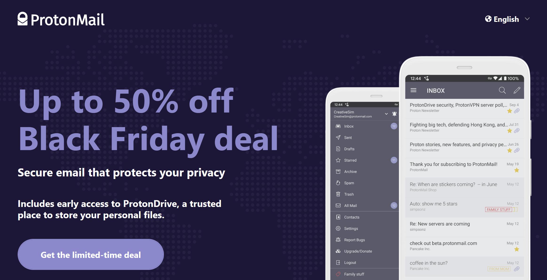 ProtonMail & ProtonVPN Black Friday Deals