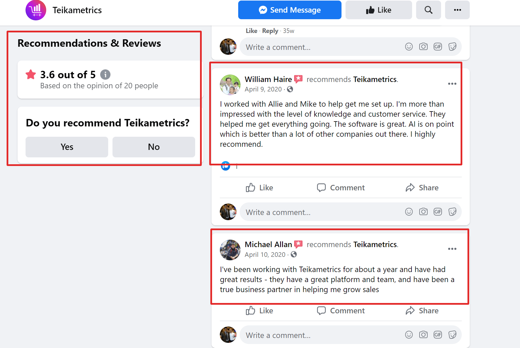 Teikametrics reviews on facebook
