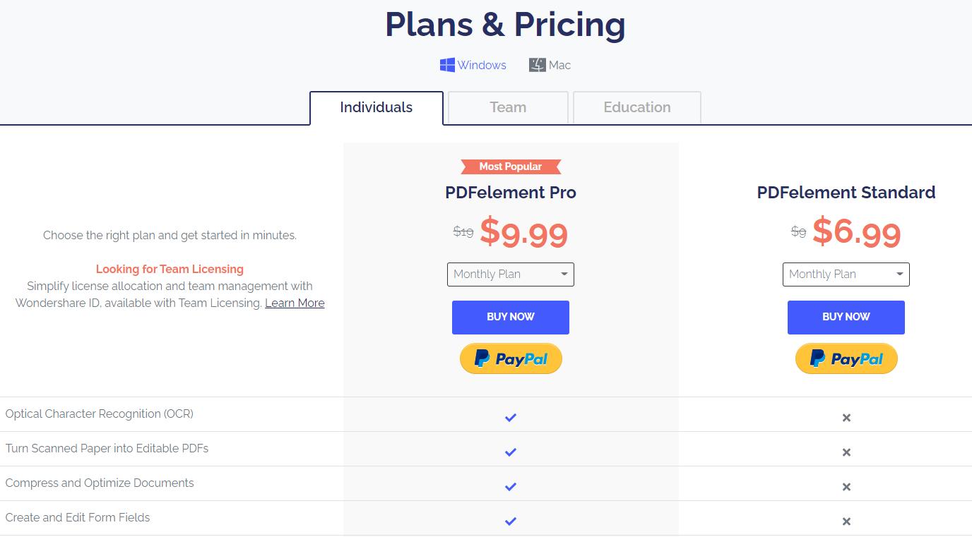Wondershare PDFelement- Pricing