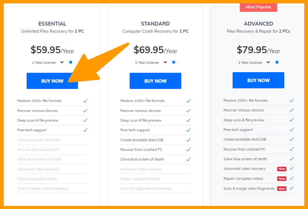 Wondershare Recoverit - Data Recovery Pricing Plan