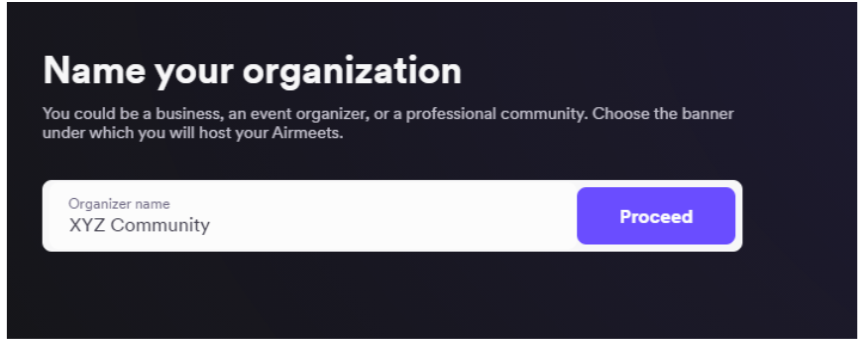 Airmeet - Name Your Organization
