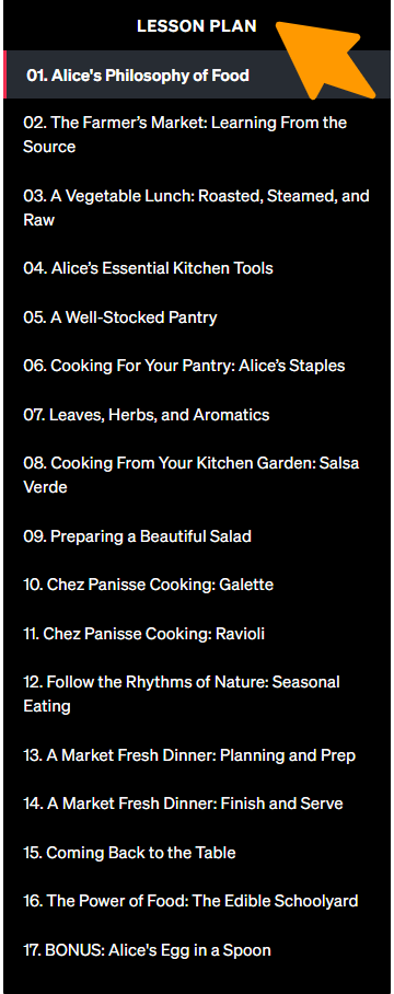 Alice-Waters-Teaches-Cooking-MasterClass - Lesson Plan