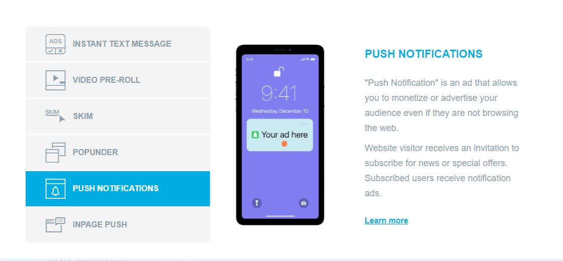 Clickadu - Push ADS