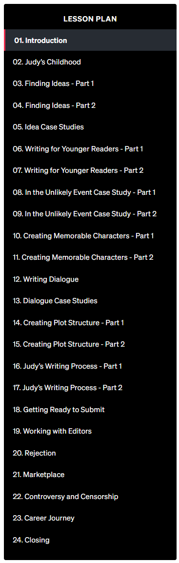 Judy-Blume-Teaches-Writing-MasterClass - Lesson Plan