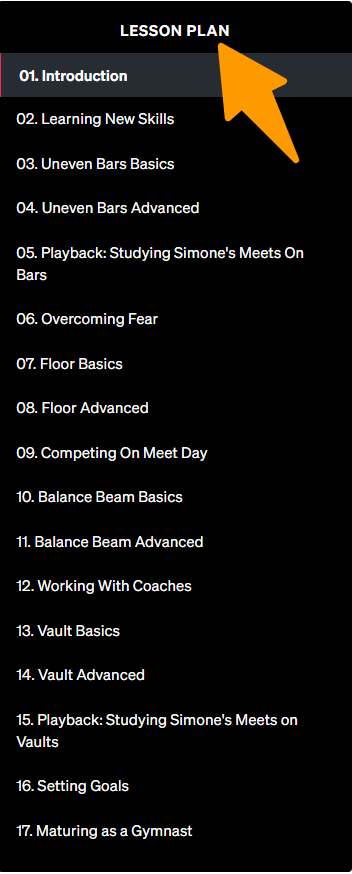 MasterClass-Simone-Biles-Teaches-Gymnastic - Lesson Plan