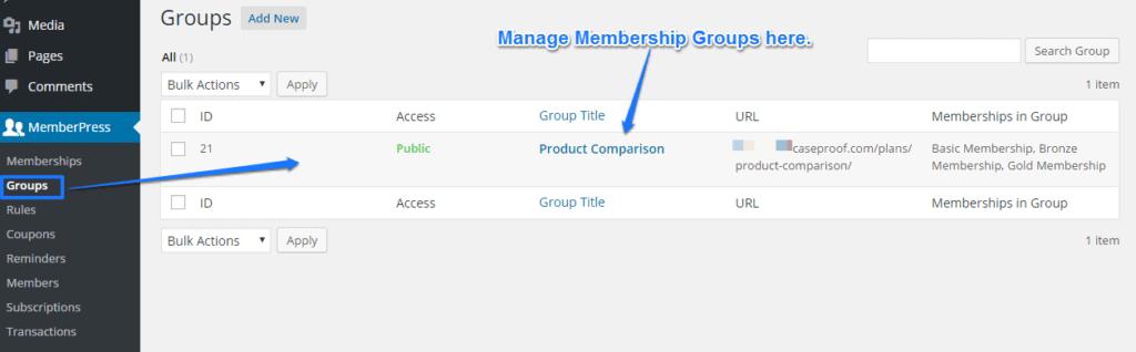 Memberpress Membership Groups
