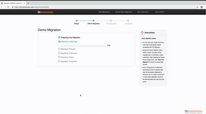 Migration-LitExtension - Demo Migration