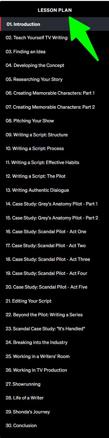 Shonda-Rhimes-Teaches-Writing-for-Television-MasterClass - Lesson Plan